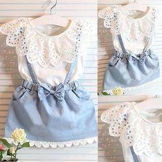 Sweet Toddler Baby Girls Outfits Clothes T-shirt Tops+Strap Dress Skirt 2PCS Set