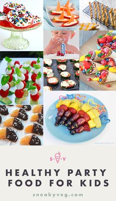 20 delicious healthy kids party food ideas Looking for healthy kids party food? Here are 20 recipes and ideas to make your birthday celebrations delicious, healthy and fun. Party Food For Toddlers, Healthy Kids Party Food, Children Party Foods, Healthy Treats, Kids Picnic Foods, Birthday Food Ideas For Kids, Healthy Picnic Foods, Healthy Children, Birthday Party Snacks