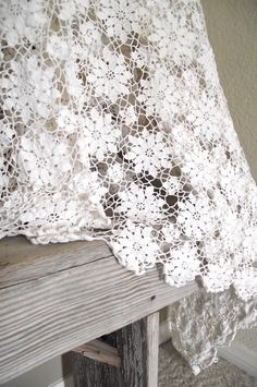 Vintage  Hand Crochet Tablecloth. The secret in crocheting any large pieces is to buy as much as the pattern calls for. Believe it or not, the dye lot can vary, even with white. Be sure to check the dye lot #.