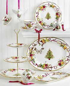 Old Counrty Roses Christmas Tree is perfect for your shabby chic holiday tablescape
