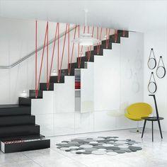 escalier quart tournant avec espace rangements design minimaliste moderne
