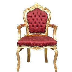Barok (eetkamer) armstoel chique goud bordeaux klassiek | Le Chique Wonen
