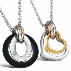6e327befaf6d Details about 2pcs Set Matching Heart His Hers Couple Pendant Stainless  Steel Necklace Jewelry