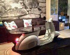 Piaggio Vespa scooter coffee table for your living room. Vespa Px, Piaggio Vespa, Vespa Scooters, Car Furniture, Iron Furniture, Automotive Furniture, Furniture Ideas, Custom Vespa, Bar Shed