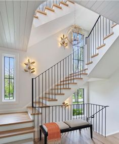 "Ashley Stark Kenner on Instagram: ""Clean and simple love the natural wood floor with the black railing. @j.jordanhomes @momentdesign_architecture • • • • •…"" Staircase Wall Decor, Wood Staircase, Staircase Design, House Staircase, Spiral Staircases, Black Railing, Beautiful Stairs, House Beautiful, Natural Wood Flooring"