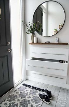 DIY Split Level Entry Makeover- I LOVE this entry. The oversize door, scandi inf… DIY Split Level Entry Makeover- I LOVE this entry. The oversize door, scandi influence and that shoe storage! Pin: 736 x 1110 Organization Ideas For The Home Diy, Diy Organization, Diy Ideas, Organizing, Craft Ideas, Decoration Hall, Entryway Storage, Organized Entryway, Door Entryway