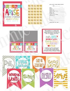 Printable Young Women values kit.