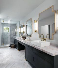 Rustic Home Decor Black Vanity Cabinets With Gold Mirrors Master Bathroom Ideas.Rustic Home Decor Black Vanity Cabinets With Gold Mirrors Master Bathroom Ideas Luxury Master Bathrooms, Modern Master Bathroom, Simple Bathroom, Modern Bathrooms, Cool Bathroom Ideas, Bathroom Photos, Small Bathrooms, Black Vanity Bathroom, Bathroom Floor Tiles