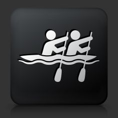 Black Square Button with Rowing Icon vector art illustration