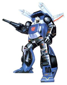 "The box illustration for Tracks, an Autobot robot that transformed into a blue sports car, from the ""Transformers"" line of toys"