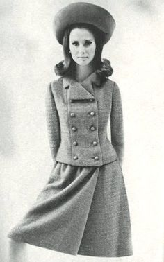 Brigitte Bauer is wearing a tweed suit by Charles Cooper, 1965......Still love this look!