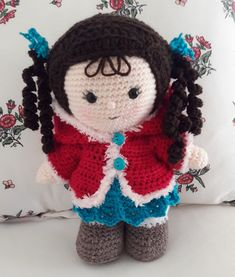 Pattern is for Basic Weebee Doll and is a free pattern on Ravelry. Used a couple of othet weebee patterns for clothes. Designer is Laura Tegg