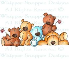 Pile of Teddies - Bears - Animals - Rubber Stamps - Shop