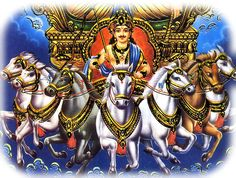 The seven horses of the suns chariot-1. Gayatri, 2. Samvrihati, 3. Ushnik, 4. Jagati 5. Trishtubh, 6. Anushtubh, 7. Pankti  The chariot of Lord Surya is pulled by seven horses. Hence, he is sometimes referred to as Saptashva (Lord of Seven Horses).