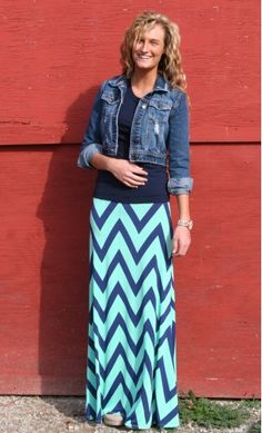 FLARED CHEVRON MAXI SKIRT $38.95 from apostolic clothing . A modest approach to a fashionable trend! These long A-line maxi skirts are a must have and feature a strong and bold chevron color block print.  and they have it a plus size!! (3XL)