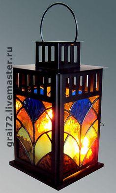 """Витражный фонарь """" Летний """" - Витраж,стекло,техника тиффани,припой,фонарь"""