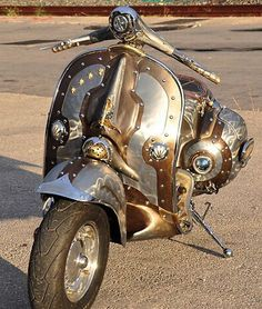 Steampunk Vespa Piaggio scooter modded by Greek artist is eye candy Piaggio Scooter, Scooters Vespa, Vespa Lambretta, Motor Scooters, Costume Steampunk, Steampunk Clothing, Steampunk Fashion, Steampunk Book, Steampunk Airship