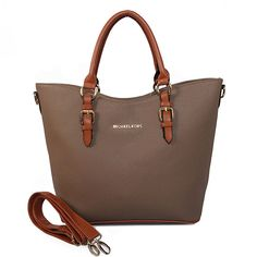 Michael Kors Jet Set Saffiano Logo Large Brown Satchels