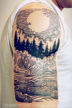 #boldlines #nature #trees #clouds #sun #tattoo