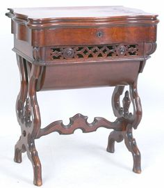 Victorian Walnut & Burl Sewing Stand, 29(h) 23(w), orig. finish, exc Vintage Sewing Box, Vintage Wood, Table Furniture, Antique Furniture, Skirt Patterns, Coat Patterns, Blouse Patterns, Sewing Patterns, Walnut Burl