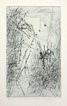 """Title: Euphoria. Artist: Bernard Childs  1910 - 1985 (biography) Year: 1955. Technique: intaglio. Image Size:12 5/8 x 7 1/2"""" platemark"""
