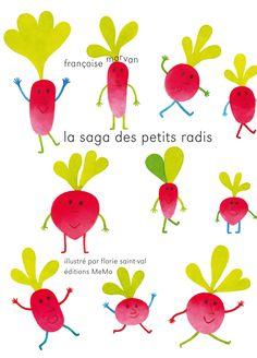 """""""C'est la sarabande dans les plates-bandes : on vient ce midi cueillir les radis. """" Ainsi commence la course folle des radis en déroute dans le potager, qui se poursuit au rythme effréné des rimes de Françoise Morvan. Florie Saint-Val nous les croque en couleurs lumineuses au fil des légumineuses."""