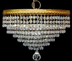 ANTIQUE Vintage GLASS PRISM Crystal Brass 7-Tiered WEDDING CAKE CHANDELIER Light in Antiques | eBay