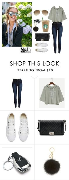 """""""Drawstring Hooded T-Shirt - SHEIN"""" by inesfragosa ❤ liked on Polyvore featuring Converse, Chanel, Mercedes-Benz, MICHAEL Michael Kors and Ray-Ban"""