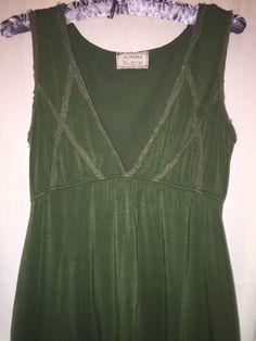 Free People Boho Ribbon Tie Lined Forest Green Front Pocket Dress XS  | eBay