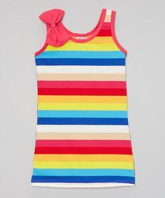 Look at this #zulilyfind! Blue & Yellow Stripe Sleeveless Dress - Girls…