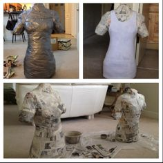 DIY Dress Form.  1- tshirt 1- roll duct tape 1- awesome friend Lots of paper mâché, and fun! :) Put on the tshirt, have a friend duct tape you like a mummy. Carefully cut up the back in a straight line. Re-tape closed, stuff with paper, paper mâché the outside... Viola!