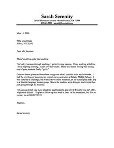 sample cover letter for teacher - Resume And Cover Letter
