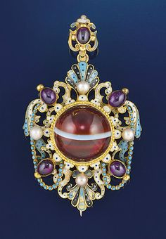 A late 19th century Neo-Renaissance gold, agate, enamel and gem pendant The central circular banded agate to a white and blue dot enamel border within a white, pale blue and black enamel scroll and swag design surround with shell accents, and amethyst and pearl detail, to a matching surmount with amethyst accent, circa 1880