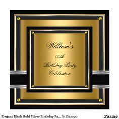 Elegant Black Gold Silver Birthday Party Mens boys