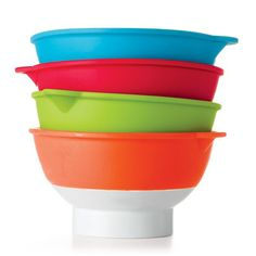"""Measurement marking inside of these bowls make prepping pretty easy.• Each, 2 1/2"""" diam. x 2 3/4"""" H• Dishwasher safe• Plastic, silicone. ImportedWhile supplies last.*In the event of unforseen demand, please allow 2 extra weeks for delivery."""