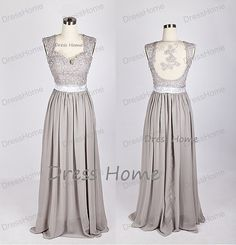 If you dont want the lace design on the back, we can remove it for you.  Grey Lace Prom Dress/Long A Line Prom Dress/Open Back Chiffon Prom