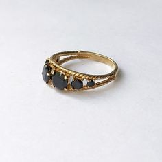 Gold plated stering silver ring, Black stone gold ring, Multi stone ring, Cable rope ring, Midi band silver ring, Black crystal ring women