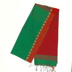 Green and Red Bengal Handloon Saree