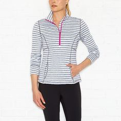 Keep The Pace Half Zip in Grey Stripe | Running Jacket | lucy activewear
