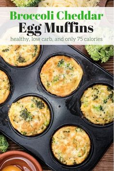 2 WW Freestyle Points Broccoli Cheddar Egg Muffins are packed with protein for a healthy, portable breakfast or snack that will keep you going all morning. Healthy Muffins, Healthy Protein, Healthy Breakfast Recipes, Healthy Snacks, Healthy Recipes, Ww Recipes, Vegetarian Recipes, Cooking Recipes, Weight Watchers Breakfast