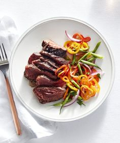 Grilled Hanger Steak With Green Bean and Sweet Pepper Slaw