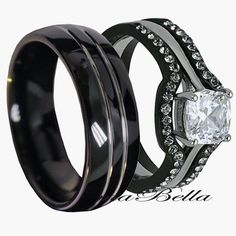 His Tungsten & Hers Black Stainless Steel 4 Pc Wedding Engagement Ring Band Set in Jewelry & Watches, Engagement & Wedding, Engagement/Wedding Ring Sets Band Engagement Ring, Wedding Ring Bands, Wedding Jewelry, Wedding Engagement, Tungsten Wedding Bands, Black Wedding Rings, Black Rings, Gold Rings, Diamond Rings