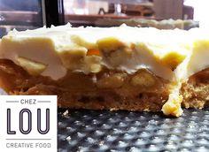 Zoom sur le cheesecake pommes / bananes de Lou
