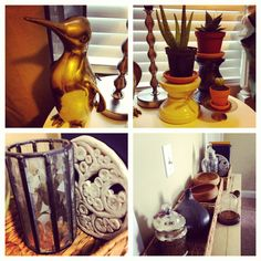 All of the nick-knacks were purchased at the thrift store.  The baskets are from Garden Ridge.  I love the brass penguin!! I also picked out 3 miss matched candle holders and used them to give the plants varying heights.  I'm still contemplating whether or not to spray paint them all black.