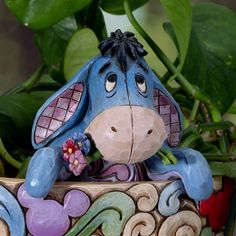 Jim Shore Disney Traditions Winnie the Pooh Eeyore Garden Small Planter Stake