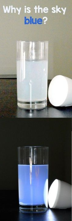 Why Is The Sky Blue? Science Experiment.  This is a great way for your students to visualize the answer to this question with a few simple supplies.  Read more at:  www.rookieparenti...