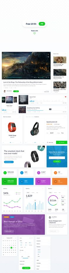 A basic and clean widget-style UI kit that consists of 25 ready-made components to get started with a website design. This freebie comes in PSD format and it has been designed and released by Artiom Piatrykin for EL Passion. Ui Kit, Software, Human Centered Design, Ui Components, Layout, Ui Inspiration, User Interface Design, Create Website, Basic Style