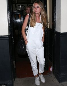 Cressida leaves the Rosemary Branch Theatre last night in loose white dungarees that showe...