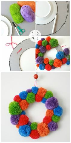 5. Pompom Wreath | 32 Awesome No-Knit DIY Yarn Projects Avec des couleurs de Noël, ça sera top !