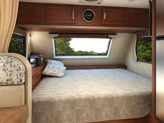 The Lance 1685 Travel Trailer comes with a large bed surrounded by big windows that let in a lot of natural lighting. Off Road Camper Trailer, Camper Trailers, Travel Trailers, Large Beds, Big Windows, Motorhome, Bunk Beds, Tiny House, Boats